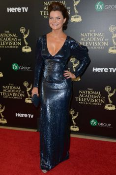 Daytime Emmy Awards Arrivals: Soap Stars Shine on the Red Carpet (Photos) Bold And The Beautiful, Beautiful People, Heather Tom, Kathy Griffin, Soap Stars, Blue Dresses, Formal Dresses, The Hollywood Reporter, Celebs