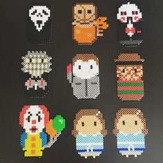 Horror Friends by KatSprites on Etsy Pixel Art Templates, Perler Bead Templates, Diy Perler Beads, Pearler Bead Patterns, Perler Bead Art, Perler Patterns, Pearler Beads, Loom Patterns, Beading Patterns