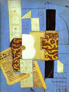 """Pablo Picasso  """"Guitarra"""" 1913 (Cubismo-Collage)"""