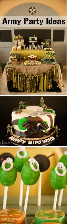 Army Party Ideas by Michelle's Party Plan-It. Army Birthday party, military party, Camouflage, camouflage cake, bomb cake pops, grenade cake pops, DIY party ideas Camouflage Party, Camo Party, Nerf Party, Diy Party, Army Birthday Parties, Army's Birthday, Birthday Celebration, Birthday Ideas, Army Cake