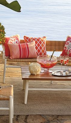 A combination of contemporary chic and cushionless comfort, our St. James Collection creates a light and airy summer retreat. Outdoor Rooms, Outdoor Sofa, Outdoor Living, Outdoor Furniture Sets, Outdoor Decor, Porches, Porch And Terrace, Summer Colors, Coastal Living