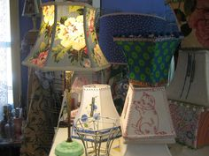 """""""Lampshades as a design element; Lakes Lampshade's Lampshade Lady takes lampshade making to an art. Diy Furniture Projects, Fun Projects, Make A Lampshade, Vintage Lamps, Lamp Shades, Girls Bedroom, Design Elements, Lights, Glow"""