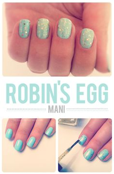 28 Nail Tutorials Best Ideas For This Summer, Robin's Egg Nails