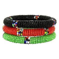 Maasai Bangles - Set of Three - Green, Red & Black - Jedando (J)