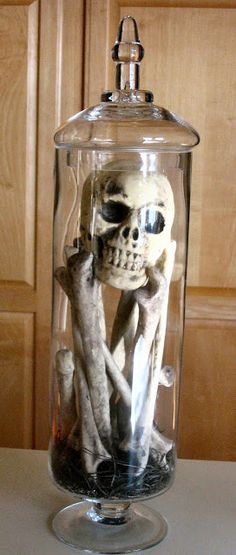 Tall jar of bones