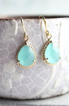 a025cf4e5 Mint Glass Earrings Gold Drop Bridesmaids by apocketofposies Wedding Gifts  For Women, Wedding Gifts For