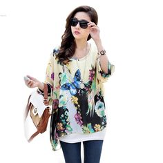 2016 verão moda feminina Sexy Batwing Dolman Sleeve Chiffon camisa Bohemian Tops 6 cores Plus Size em Camisetas de Roupas e Acessórios no AliExpress.com | Alibaba Group