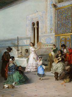 """Manuel Wssel de Guimbarda """"Escena costumbrista en el Alcázar de Sevilla"""" 1872 Óleo sobre lienzo 84 x 63 cm Museo Carmen Thyssen Málaga"""