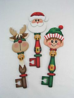 A Stroke of Jeanne-ius - Santa and Friends Key Ornaments E-Pattern, $6.00 Check more at http://hrenoten.com