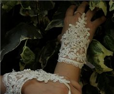 LUX  Wedding Gloves White Laced whit beaded  by ArtofAccessory, $35.00