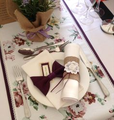 Floral table runner with lace edges  over plain purple runner. Two different types of napkin cuffs (hessian and classic). Contact CliffsCushions@gmail.com Wedding Bunting, Wedding Decorations, Hessian, Lorraine, Table Runners, Napkin Rings, Cuffs, Napkins, Charlotte