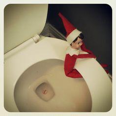 Elf on the Shelf takin a much need potty break! hehehehe