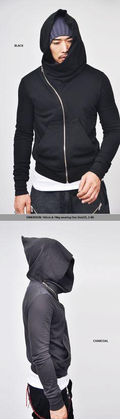 Tops :: Hoodies :: Avant-garde Diagonal Zipper Wizard-Hoodie 17 - Mens Fashion Clothing For An Attractive Guy Look