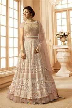 56b1b57fcc Drashti dhami beige partywear gown suit online which is crafted from net  fabric with exclusive embroidery and hand work. This stunning designer gown  suit ...