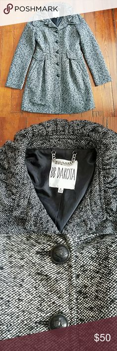 """BB Dakota Tweed Coat Black/White Tweed coat. Metal buttons with a crest on them. Metal link style chain to be hung. No wear, brand new condition! Cinching around collar. Underarm to underarm 17.5"""". Length =34"""". BB Dakota Jackets & Coats"""