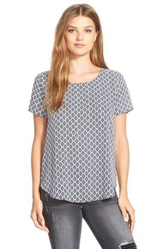 Pleione Pleat Back Woven Print Top (Regular & Petite) | Nordstrom