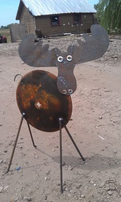 Recycled Garden Art Moose From Old Farm Disk Free Shipping. $150.00, via Etsy.