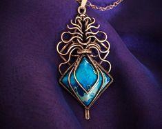 Blue Labradorite jewelry Wire wrap necklace Art nouveau   Etsy Labradorite Jewelry, Copper Jewelry, Wire Jewelry, Jewelry Art, Jewelry Design, Jewelry Ideas, Wire Necklace, Wire Wrapped Necklace, Art Nouveau