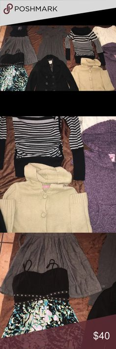 Women bundle 10 pieces....  3 dresses,4 blouses,2 sweaters,1 black old navy coat, all the clothes is size:Small, black coat is size:X-SmalL but fit S $40 for all!!  No rips or stains Tops Blouses