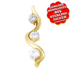 1.00 Ct Round Moissanite Squiggle Pendant Without Chain 14K Gold. Starting at $99