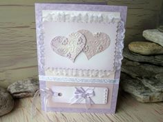 Two Heart Wedding Card Lilac Hearts by 4SeasonCards on Etsy, €7.50