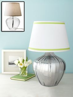 before and after lamp.  Trim lampshade + How To for the mercury glass effect.  From bhg.com