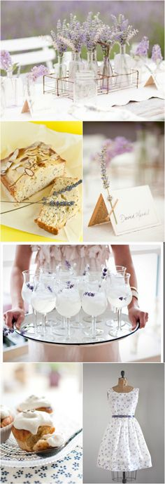 Lace Lavender Lemonade Luncheon ... love the place cards lined with vintage paper