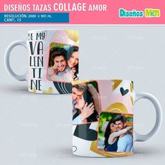 sublimation templates PSD collage for Love Love - San Valentin Regalos Caja Sublimation Mugs, Tea And Books, Ideas Para Fiestas, Romantic Gifts, Mug Designs, Handicraft, Projects To Try, Collage, Handmade Gifts