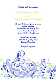 Royal Blue Wedding Invitation Templates Lovely Paisley Wedding Invitation – Blue and Green ← Wedding Royal Wedding Invitation, 60th Birthday Party Invitations, Free Printable Invitations Templates, Free Wedding Invitations, Wedding Invitation Card Design, Invitation Kits, Invites, Free Printables, Paisley Wedding