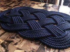 Nautical Bathmat Pure Cotton Nautical Mat and by BeechHouseStudio