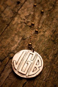 bronze monogram necklace - every girl needs a monogram necklace :)
