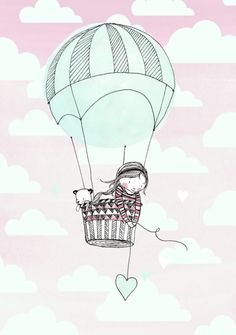 Marieke ten Berge 'Kaart Luchtballon Meisje'