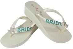 Ivory and Tropic Teal Starfish Satin Ribbon Wedge 2 inch heel flip flops