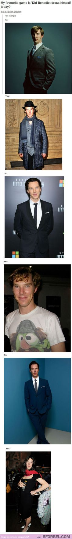 How To Know If Benedict Cumberbatch Dressed Himself Today… but its cute when he dresses himself :)