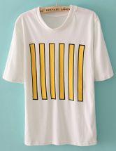 White Short Sleeve Vertical Stripe T-Shirt $27.26