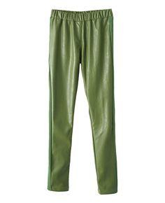 Solid-tone Elastic-waist Leather Pants | BlackFive