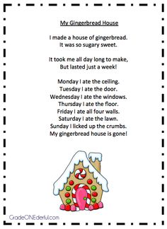 """Poem, """"My Gingerbread House"""" (from Grade Onederful)"""