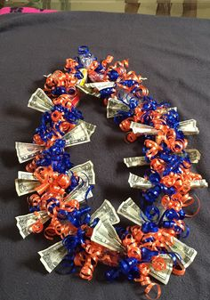 Money and candy leis.