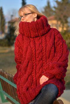 READY wool sweater handmade chunky sweater hand knitted by Dukyana