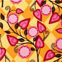 Michael Miller fabric Flora flowers orange Patty Young - Flower Fabric - Fabric