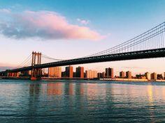 The view of Manhattan Bridge at sunrise