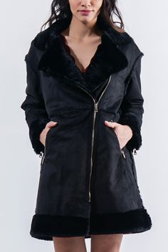 Quilted coat with lapel. Zipped pockets and cuffs. Furry collar, cuffs and hem. Front gold zip closure and long sleeves.  http://www.modaboom.com/clothes/outerwear/product-293/