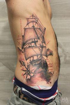 Sailboat Tattoo by Tayri Rodriguez at Siha Tattoo