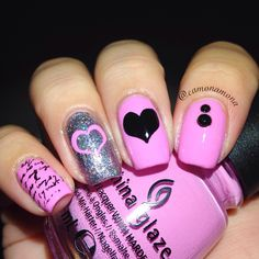 China glaze dance baby with stickers  Vday nails using @whatsupnails stickers from whatsupnails.com