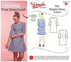 einfaches Kleid langärmelig in leichter A-Linie nähen, Size UK 8-16, langarm