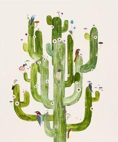 bird and cactus illustration by Kirra Jamison Cactus Painting, Cactus Art, Cactus Decor, Cactus Flower, Illustration Cactus, Cactus House Plants, Cacti, Indoor Cactus, The Design Files