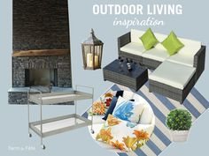 Outdoor Living Inspiration, Porch Decorations, Outdoor Decorating, Summer Decor, Sherwin Williams Sleepy Blue