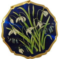 Vintage Snowdrops and Bluebells Powder Compact by Stratton Royal Blue Iridescent Enamel England