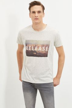 Cortefiel Printed t-shirt Gray