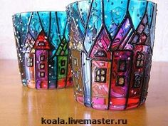 HAND-PAINTED porcelain and glass